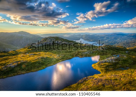 Magnificent landscape view from the mountain top Kattnakken at the island of Stord in Norway