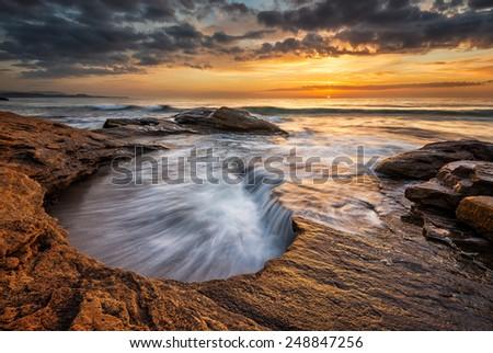Magnificent sea sunrise at the Black Sea coast, Bulgaria - stock photo