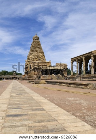 Magnificent south Indian temple with unparalleled beauty (Tanjore, UNESCO Herritage Site circa 12th century AD)
