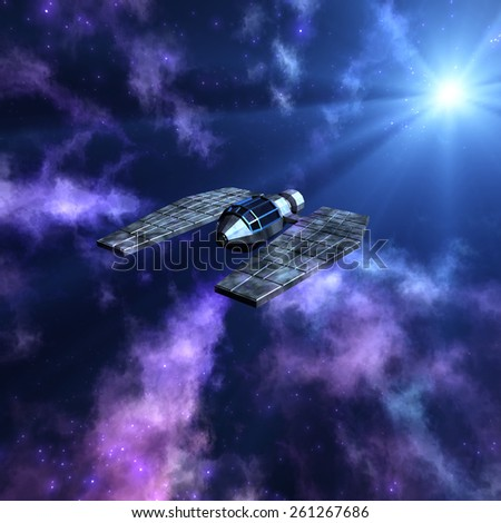 Magnificent starry space 3d scene with a spaceship - stock photo