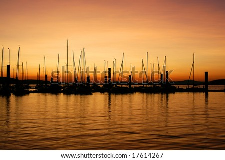magnificent sunrise at jetty - stock photo