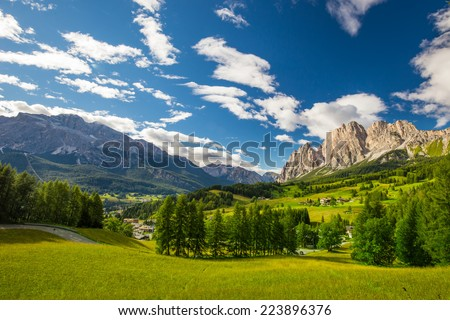 Magnificent valley with Cristallo mountain group near Cortina d'Ampezzo, Dolomites mountains, Italy Europe - stock photo