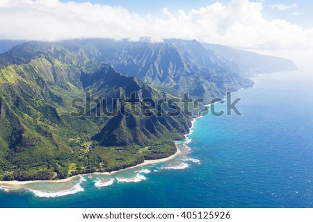 magnificent view at na pali coast at kauai island, hawaii, from helicopter