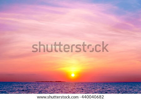 Magnificent View Setting into the Sea  - stock photo