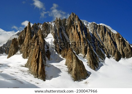 magnificent views of the steep snow-covered cliffs in the Swiss Alps - stock photo