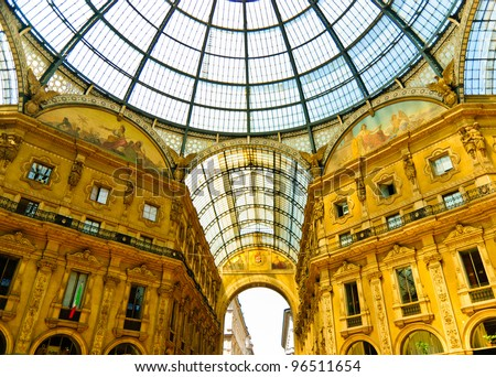 Magnificent Vittorio Emmanuele gallery interior with glass-vault, Milan, Italy - stock photo