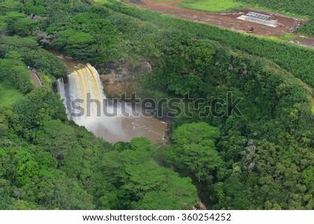 Magnificent Wailua Falls in Kauai, Hawaii - stock photo