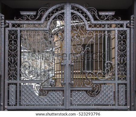 magnificent wrought iron gates  ornamental forging  forged elements close up. Iron Gate Stock Images  Royalty Free Images   Vectors   Shutterstock