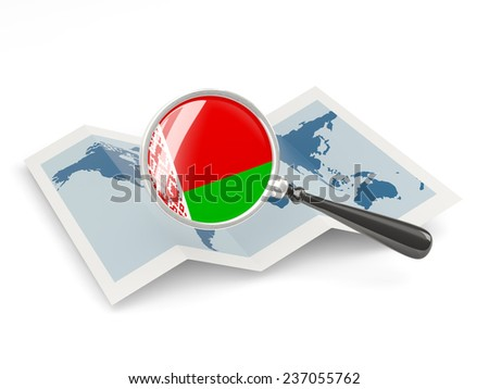 Magnified flag of belarus with map isolated on white - stock photo