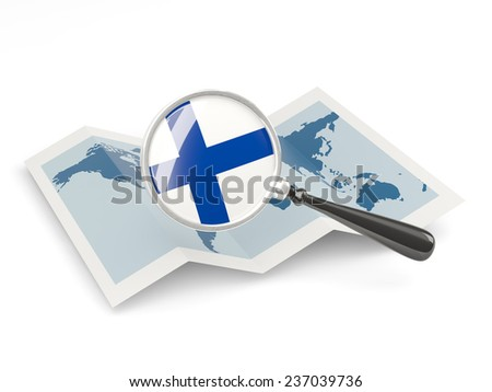 Magnified flag of finland with map isolated on white - stock photo