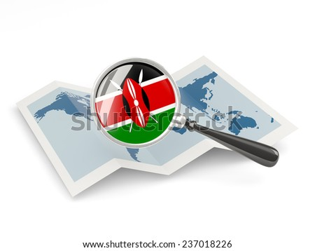 Magnified flag of kenya with map isolated on white - stock photo