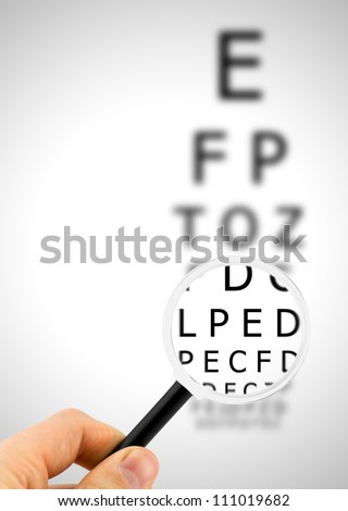 Magnifier focuses eye chart letters clearly and shown blurred in the background - stock photo