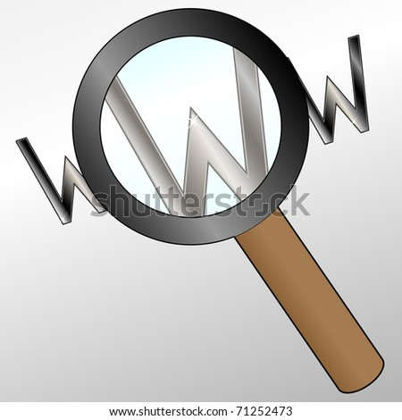 Magnifier glass and letter www - stock photo