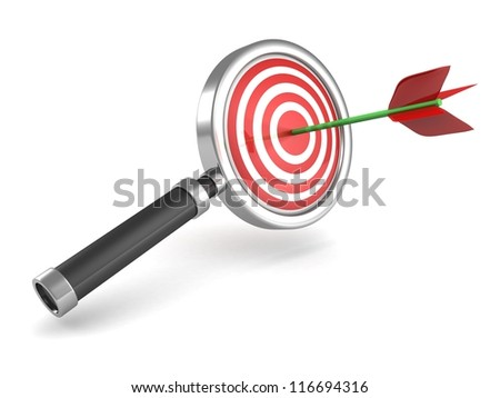magnifier glass with red darts target and arrow in a bull's-eye center