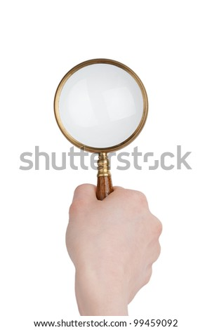 Magnifier in hand isolated on white background - stock photo