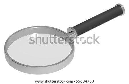 Magnifier isolated on white. Computer generated 3D photo rendering.
