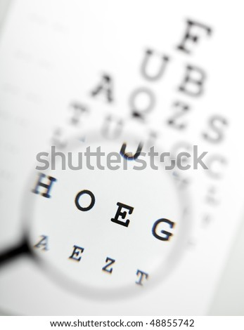 Magnifier over eye chart revealing blurry text - medical concept - stock photo