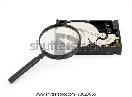 magnifier searching hard disk drive isolated