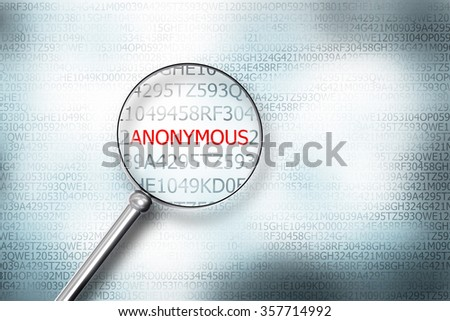 magnifier searching the word anonymous on computer screen 3d illustration - stock photo