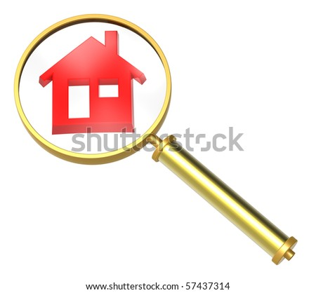 Magnifier with home icon isolated on white. Computer generated 3D photo rendering. - stock photo