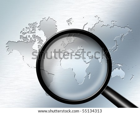 Magnify Glass focus on Africa - stock photo