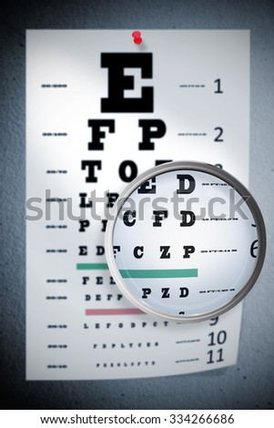 Magnifying glass against grey wall