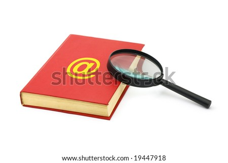 Magnifying glass and address book isolated on white background - stock photo