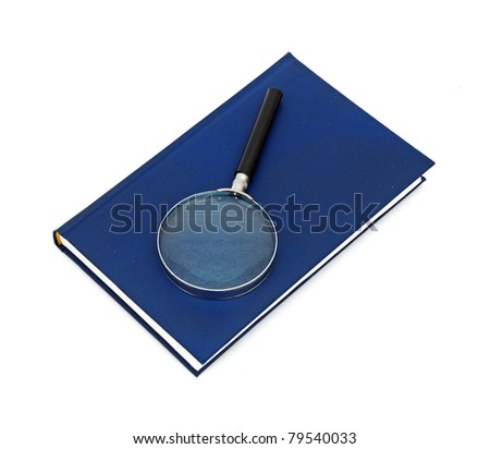 Magnifying glass and book isolated on white background - stock photo
