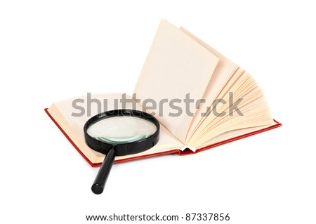 Magnifying glass and book with empty pages ready for text or graphic - stock photo