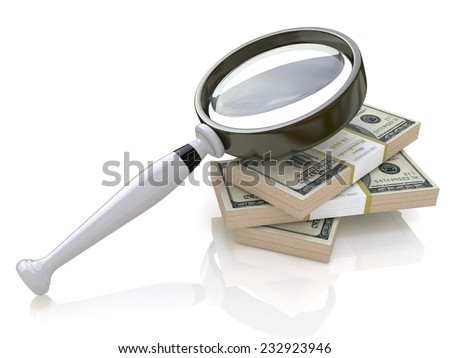 Magnifying Glass and money - stock photo