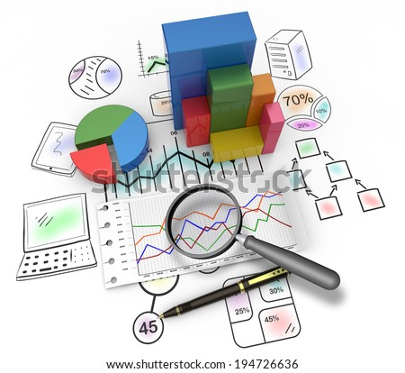 Magnifying glass and pen over graph as concept - stock photo