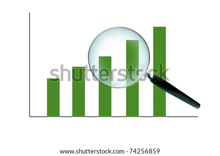 Magnifying glass and the working paper with a diagram. (Business concept)