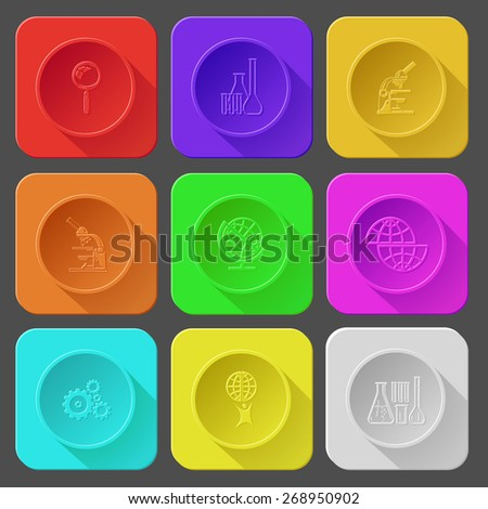 magnifying glass, chemical test tubes, lab microscope, shift globe, gears, little man with globe. Color set raster icons. - stock photo