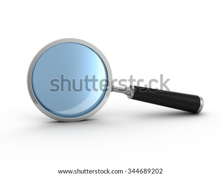 Magnifying glass. 3d render on white background - stock photo