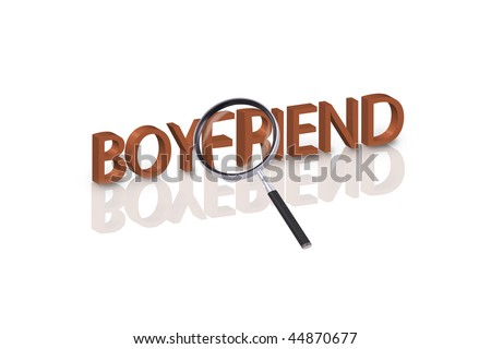 magnifying glass enlarging part of 3D word boyfriend in red with reflections - stock photo
