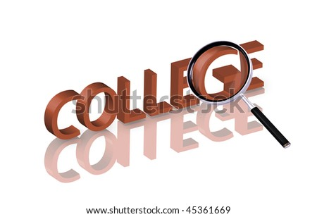 Magnifying glass enlarging part of red 3D word with reflection - stock photo