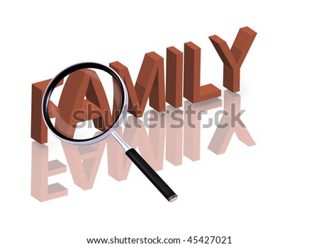 Magnifying glass enlarging part of red 3D word with reflection family button family icon isolated on white - stock photo