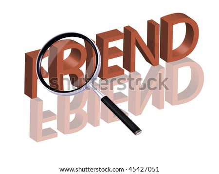 Magnifying glass enlarging part of red 3D word with reflection friend button friend icon friendship button friendship icon - stock photo