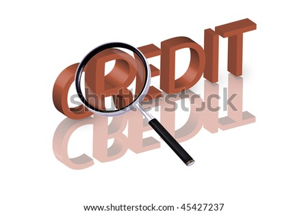 Magnifying glass enlarging part of red 3D word with reflection money loan cash button money button money icon loan money - stock photo
