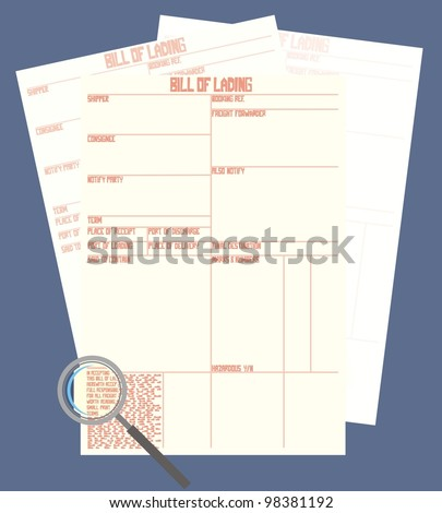 Magnifying glass examining small print on a bill of lading / a contract of carriage / shipping document - color raster illustration - stock photo