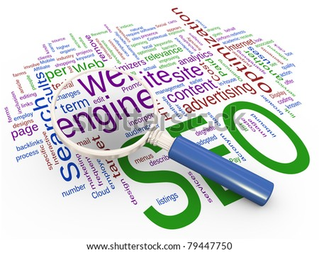 Magnifying glass focus on word 'engine' on background of SEO wordcloud. - stock photo