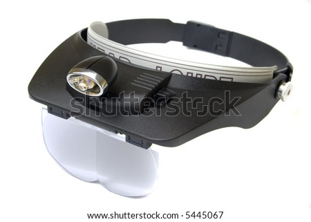 Magnifying glass, head loupe isolated on white, - stock photo