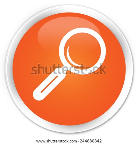 Magnifying glass icon orange glossy round button - stock photo