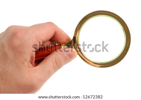 Magnifying glass in hand isolated on white background