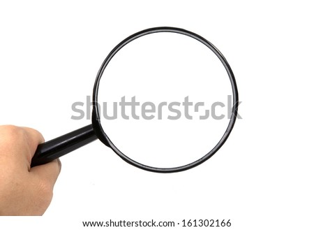 magnifying glass in hand on isolated