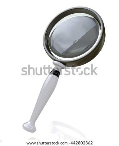 Magnifying Glass in the design of access to information relating to the search. 3d illustration - stock photo