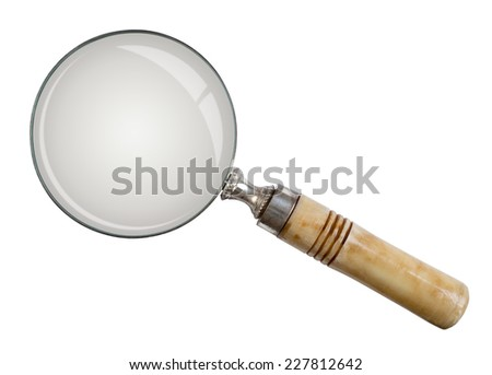 Magnifying glass, isolated and rectagular on white background - Lente di ingrandimento - stock photo