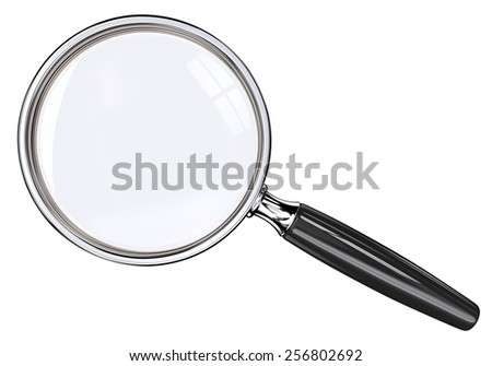 Magnifying Glass. Isolated magnifying glass. Black and metal. - stock photo