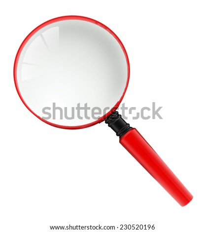 Magnifying glass isolated on white background. - stock photo