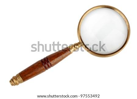 Magnifying glass isolated on white background - stock photo